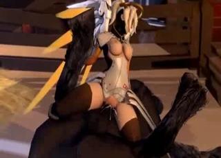 Overwatch blonde rides a horse boner