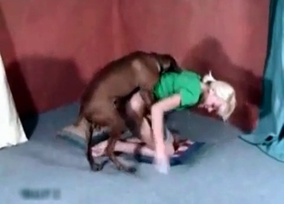 Blonde in green takes dog's cock